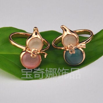 Blue 9 Exquisite Gold Plated Agate Jade Gourds Opal Stone Party Women Rings