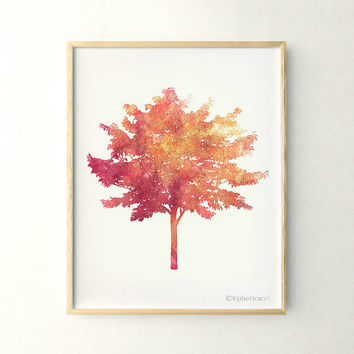 Tree art, 11x14 Living wall art print, Nature Home decor print poster, Coral Printable wall art decor, Tree print, Nature wall decor poster