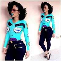 Blue Sequined Cartoon Patch Long Sleeve Top