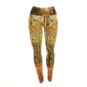 "Sylvia Cook ""Autumn Leaves"" Rustic Yoga Leggings"