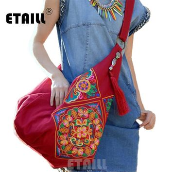 National Chinese Canvas Ethnic Embroidery Bag Boho Thailand Embroidered Women Messenger Bags Cross Body Bags Sac a Dos Femme