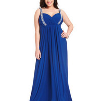 Betsy & Adam Plus Size Dress, Sleeveless Beaded Pleated Gown - Plus Size Dresses - Plus Sizes - Macy's