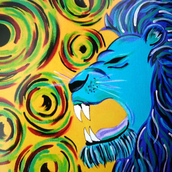 8x10 Print Blue and Purple Lion with Colorful Swirls Original Acrylic Painting Print Gift Idea Colorful Animals Painting Glossy Yellow