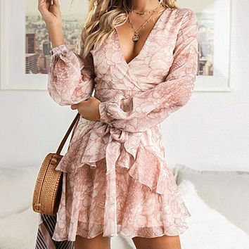 Vintage Print Dresses Female Elegant Party Short Dress Bow Sexy Ruffles Chiffon Dress