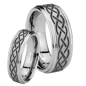 His Hers Celtic Knot Step Edges Brushed Tungsten Men's Wedding Band Set