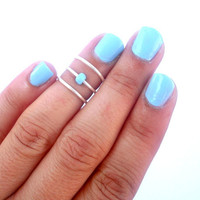 Sky Blue  Above Knuckle Ring - Above the Knuckle Rings -    Pop of color - Set of 3 by Tiny Box