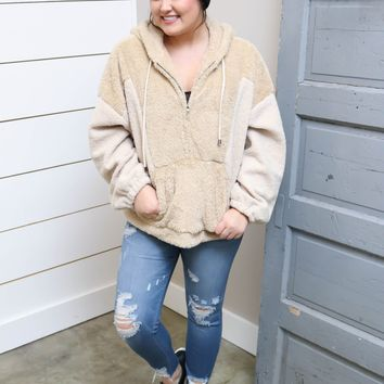 Taupe Fuzzy Hooded Pullover