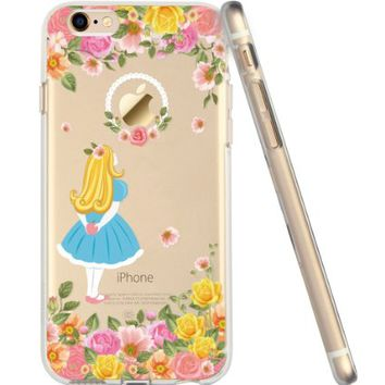 iPhone 6s Case, Cartoon iPhone 6 Case Clear for Girls, ESR Soft Silicone Back Cover Case with Cute Pattern [Ultra Thin] [Scratch Resistant] for 4.7 inches iPhone 6 iPhone 6s (Alice Wonderland)
