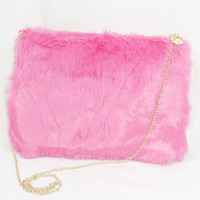 Faux Fur Purse - Neon Pink