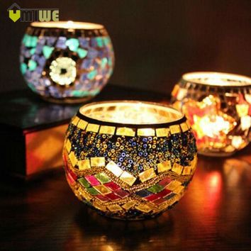 Umiwe Mosaic Glass Tealight Candle Holder Candle Lantern Centerpieces For Home Decorations