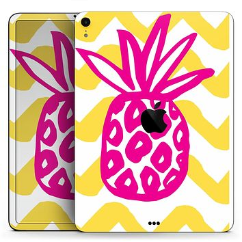 "Pink and Yellow Pineapple - Full Body Skin Decal for the Apple iPad Pro 12.9"", 11"", 10.5"", 9.7"", Air or Mini (All Models Available)"