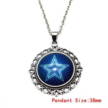 USA Football Dallas Cowboys Vintage Pendant 20 Inch Chains Necklace Long Necklace Fashion Jewelry For Sports Fans