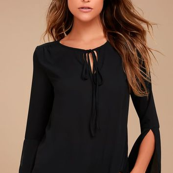 Carefully Curated Black Long Sleeve Top