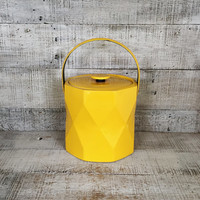 Ice Bucket Mid Century Ice Bucket Geometric Shaped Ice Bucket Yellow Ice Bucket Yellow Ice Cooler Retro Barware Bar Cart 1980s Barware