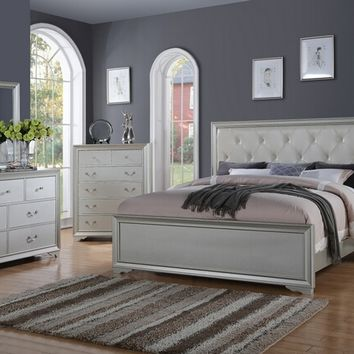 5 pc sparkle ii collection silver toned colored wood finish tufted headboard style queen bedroom set