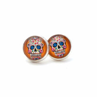 Orange Sugar Skull Earrings