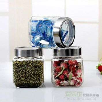 Sealed glass transparent tank milk cans honey pot candy bottle tea caddy storage tank