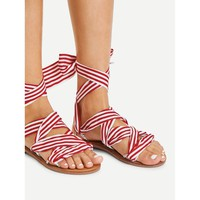 Red Peep Toe Bow Striped Sandals