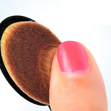 Makeup Face Powder Blusher Toothbrush Curve Brush Oval Cosmetic Tool B007610