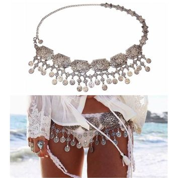 Womens Vintage Silver Plated Coin Tassels Belly Body Chain