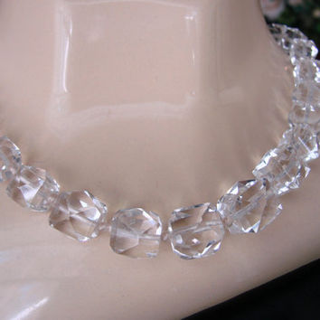 Austrian Crystal Choker Necklace / Faceted Crystal Chunky Beads / Wedding Bridal / 1930s 1940s / Art Deco / Filigree Clasp /Vintage Jewelry