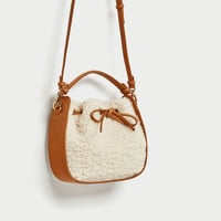 FAUX FUR MINI BUCKET BAG