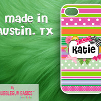PERSONALIZED iPhone Case iPhone 4 4S iPhone 5 Phone Case - Ribbon Stripes Bows Buttons Scrapbook - Monogrammed Custom