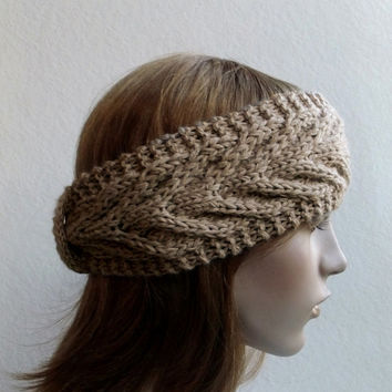 FREE SHIPPING,Hand Knitted Headband in Beige,Handmade Headband,Warm Head Wrap,Winter Ear Warmer,Woolen Headband,Turban,Knit Women Accessory