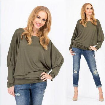Batwing Sleeve Plus Size Tops Round-neck T-shirts [7322407937]