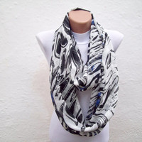 infinity scarf Loop scarf Neckwarmer Necklace scarf Fabric scarf   White  Black Blue