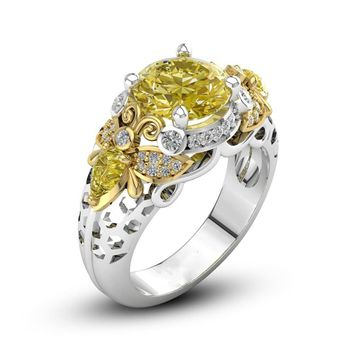 New Trendy Accessories Wedding Queen Silver Bee Gems Jewelry Yellow CZ Fashion Crystal Ring Size 6-10 High Quality
