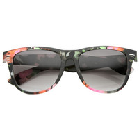 Women's Colorful Flower Print Fashion Horned Rim Sunglasses 9645