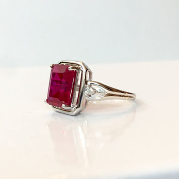 Ruby Diamond Ring Sterling Silver Band July Birthstone Ring Emerald Cut Red Gemstone Estate Jewelry Christmas Gift for Her Anniversary Ring