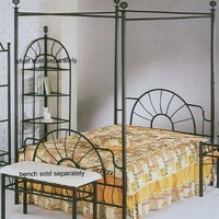 ACME 02084F Sunburst Full Canopy Bed HB/FB, Black Finish
