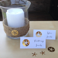 Beach Wedding, Blank or Personalized Gold Sand Dollar Place Cards/Escort Cards