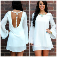 Anaheim White Daisy T-Strap Dress