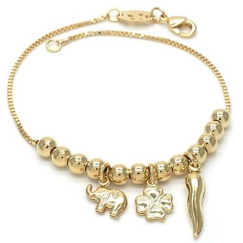 Gold Layered 03.32.0082.08 Charm Bracelet, Elephant and Four-leaf Clover Design, Polished Finish, Golden Tone