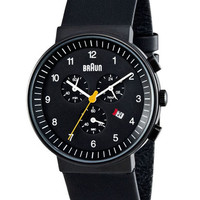 Braun Chronograph Watch Black by Dietrich Lubs and Dieter Rams