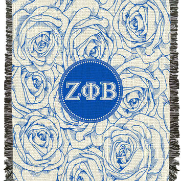Zeta Roses and Greek Letters Woven Afghan, Blanket, Throw - Zeta Phi Beta Sorority