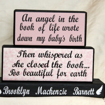Baby Memorial Personalized Wood Blocks