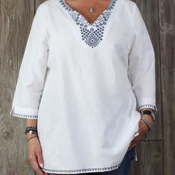 Cute Fleur Bleue XL size Tunic Top White Blue Embroidered Womens Blouse Boho Hippy
