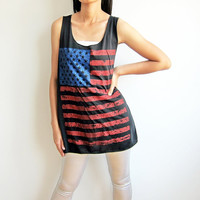 US American National Flag Stars and Stripes Black T-Shirts Women Tank Top Size M