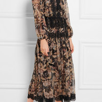 Zimmermann - Alchemy lace-paneled printed silk-georgette dress