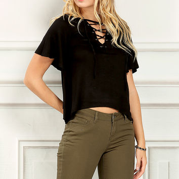 Lace-Up Flare Tee