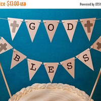 Sale Christening Cake Topper Garland Baptism Bunting God Bless Banner Dedication First Communion Confirmation Baby Shower