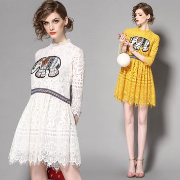 Lace dresses mesh Printing Thai elephant solid color stitching collar yellow lace sleeves Lovely pure everyday womens dresses