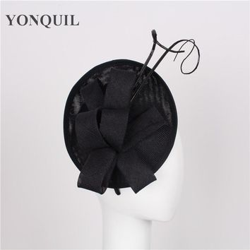 High quality 15 colors black fascinator with Ostrich pole sinamay fascinators hats bridal hair accessories event occasion hats