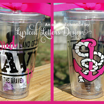 Navy Wife or Girlfriend tumbler - 16oz personalized acrylic