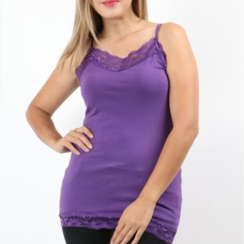 Plus Size Lace Trim Camisole - 8 Colors!