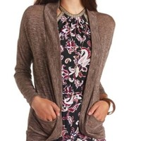 Lightweight Marled Cocoon Cardigan by Charlotte Russe - Brown